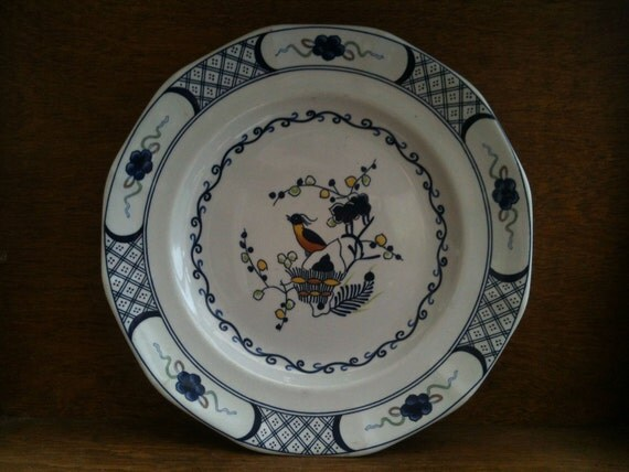 Vintage English Blue and White Dinner Luch Plate Wedgewood circa 1960-70's / English Shop