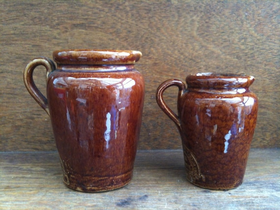Vintage English Stoneware Creamer Cream Milk Jug Pitcher with Large Stamp & Brown Glaze circa 1930-40's / English Shop