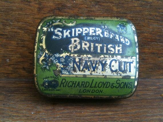 Vintage English Navy Cut Tin Box Circa 1940's / English Shop