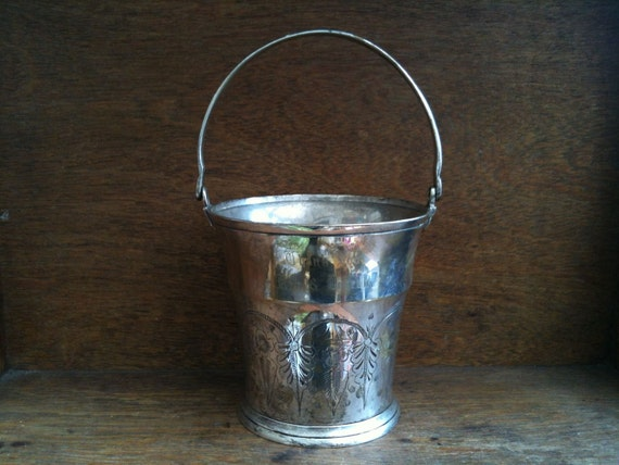 Vintage English Silver Colored Bucket, with Handle