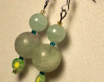 pale green stone and glass bead earrings