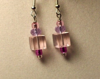 small pink square glass bead single dangle earrings