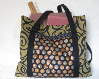 Priced reduced - Knitting bag or craft bag in metallics and black