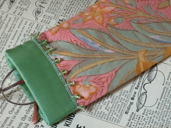 Pink and green floral eyeglass case with beaded trim