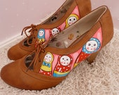 Hand Painted Russian Doll Shoes - Sz 7