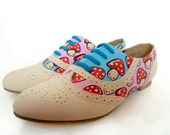 Hand Painted Toad stool Brogues - Sz UK 4, US 6.5, Eur 37