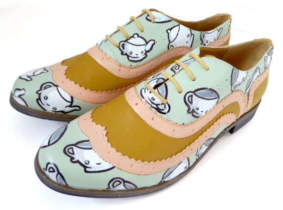 Wonderland Tea Party Kawaii Brogues - Sz UK6, US 8.5, Eur 39