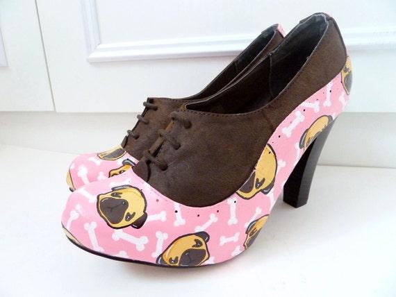 Pink Pugs 'n' Bones Heels - Size UK 7 US 9.5 Eur 40