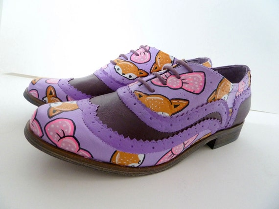 SALE Purple and Pink Fox Brogues Size UK 4, US 6, Eur 37