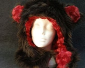Foxy Monster Reversible Fake Fur Bear Hood:brown fur W/ red plush