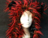 Foxy Monster Reversible Fake Fur Bear Hood: brown with red and black wisps fur W/ black plush