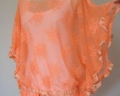 Neon orange sheer blouse cover up-lace tunic-swimsuit coverup beach dress summer fashion  womens clothing