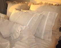Ruffle Bedding- Queen King duvet cover-Buldan fabric-linen-French country home style bedding,farmhouse shabby chic bedding Nurdanceyiz