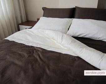 Solid colors duvet cover Twin XL-QUEEN-Full size Ecru Ivory Cream Chocolate Brown custom bedding-college dorm room bedding Nurdanceyiz