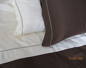 Duvet cover super king or cal KING - Men's bedding Plain solid Ecru ivory cream Chocolate Brown  with king pillow cases custom bedding