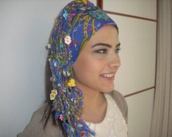 boho blue braided Ethnic scarf-haute couture -Turkish OYA-Bohemian gypsy headwrap hair wrap-yemeni-crochet -Bandana Dreadlocks Nurdanceyiz