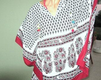 boho Caftan -ethnic tribal swimsuit cover up-mexician tribal-tunic dress blouse mini beach dress-dragonfly-Turkish oya lace fringe crochet