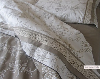Duvet cover French Country home cotton lace trim Custom made Bedding set 4 pcs Queen size beige white pastel Turkish Turkey Istanbul style