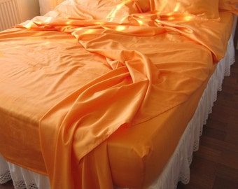 TWIN QUEEN King Bed SHEET sets - 2 pillow cases -fitted and flat sheet -top sheet for comforter Orange Gold white black gray custom bedding