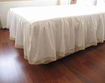 Ivory cotton bedskirt Custom drop 14 18 20 22 inch Queen King Dust skirt ruffle, Bed skirt, solid White, ivory lace shabby chic bedding