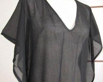 caftan beach dress plain BLACK cotton gauze summer dress swimsuit cover up women clothing Turkish Turkey