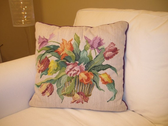 cross stitch Shabby chic decorative pillow French cushion Embroidered Handmade Basket with tulip flowers country cottage style