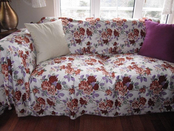 floral sofa throw cover couchcoverletlarge by nurdanceyiz on etsy. Black Bedroom Furniture Sets. Home Design Ideas