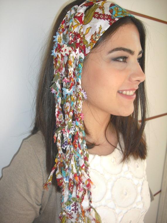 boho Cotton scarf-Yemeni-Turkey OYA Scarf-hippie head bands-crochet-Gauze-Belt-Dreadlocks-head wrap-braided-dreadwrap-women's scarves