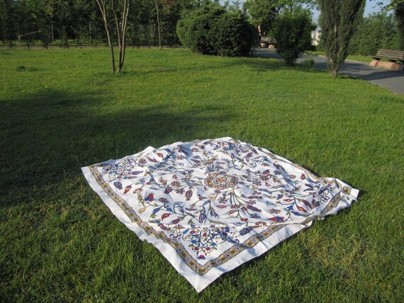 Square Tablecloth Turkish Ottoman tile floral print Picnic Park  Beach Camp Yoga cloth -Wall decor Bed Bedding Bohemian Boho Hippie Tapestry