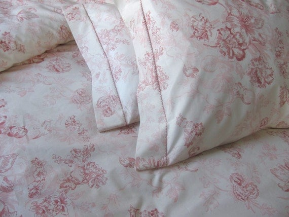 Queen size duvet cover shabby chic beach cottage pastel floral soft powder pink ivory country home romantic bedroom