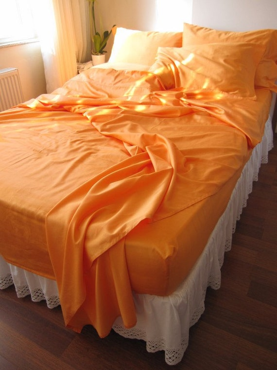 Queen orange gold bed sheet sets any color 2 pillow by for Best color bed sheets