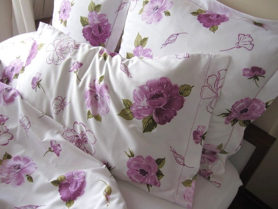 Purple floral bedding pillow cases, pair standard pillowcases 20x30 inch,Cabbage rose print