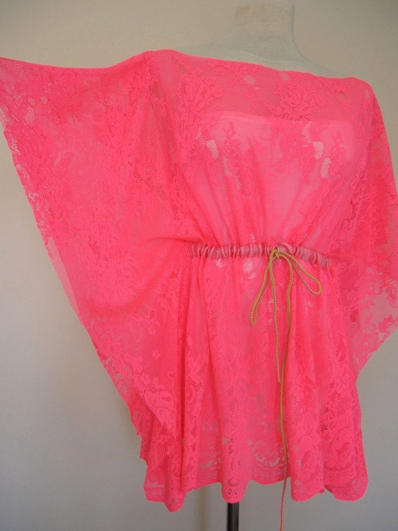 Neon pink fuchsia-kaftan-caftan-swimsuit cover up-coverup-sheer-lace-mini beach dress summer tunic