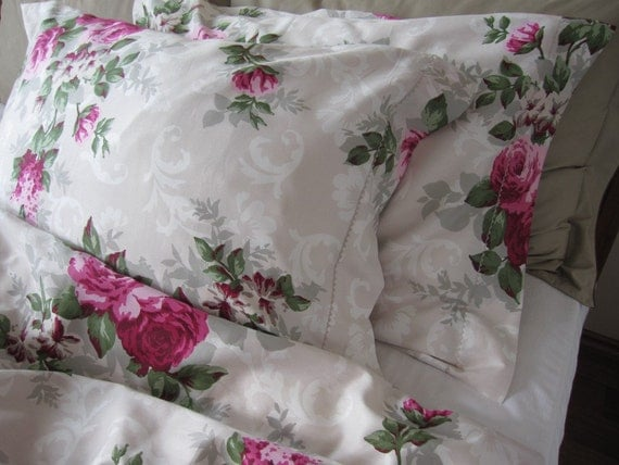Full Queen Double Duvet Cover Shabby Chic Bedding Hot Pink