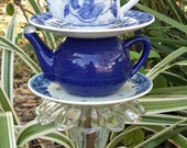 Reserved for Teresa Amin - Blue and White Double Teapot Garden Stake