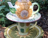 Garden Totem / Centerpiece / Dessert Stand Sunflower Teapot - As Featured In Flea Market Gardens Magazine