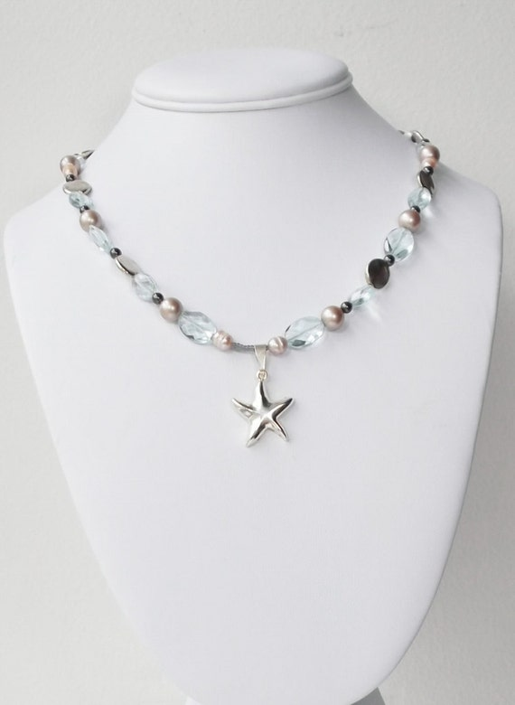 Silver Starfish Pearl and Quartz Necklace, Free Shipping