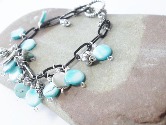 SOA Fierce Mother Chain Blue Coin Fringe Bracelet, Free Shipping, LymeAid for Melissa