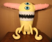Cotton the Big Yellow Plush Monster with Pink Hair and Long Frog Legs