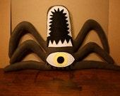 Templeton the Dark Green Plush One Eyed Spider Monster