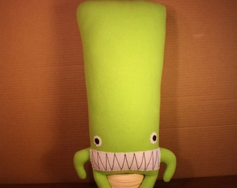 Lars the Bright Green Plush Monster with a HUGE Head and Pointy Teeth