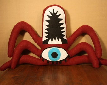 Templeton the Maroon Plush One Eyed Spider Monster