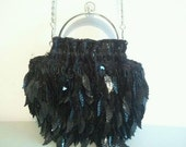 Evening Bag Black Leaves and Beads Purse