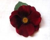 Hair Flower Clip- Medium Deep Red Velvet Holiday Hair Clip. Teacher Gift Gift Under 10
