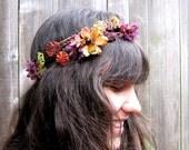 Floral Headband - Purple And Bronze Bohemian Folk Head Wreath, Crown