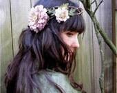 Floral Head Wreath - Mauve Pink Braided Woodland Flower Crown, Easter Flower Headband, Fashion