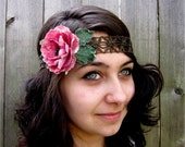 Floral Headwrap - Antique Gold Braid & Vintage Pink Blossom Headwrap, Headband