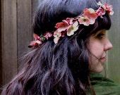 Floral Hair Wreath - Vintage Mauve Pink Blossom and Vine, Wedding Flower Crown, Pink Flower Crown, Fashion