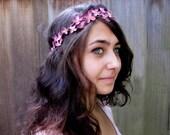 Flower Crown - Tiny Deep Mauve Pink Blossom & Vine Hair Wreath. Valentines Day Hair Flowers, Gift Guide, Boho Headband
