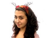 Antler - Headpiece - Rustic Carmel Leather and Red Blossoms, Antler Headand. Jackalope Antlers, Boho Chic. Pixie.